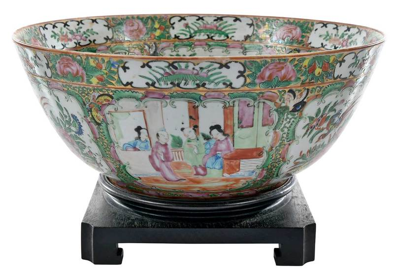 Famille Rose Porcelain Punch Bowl with Stand