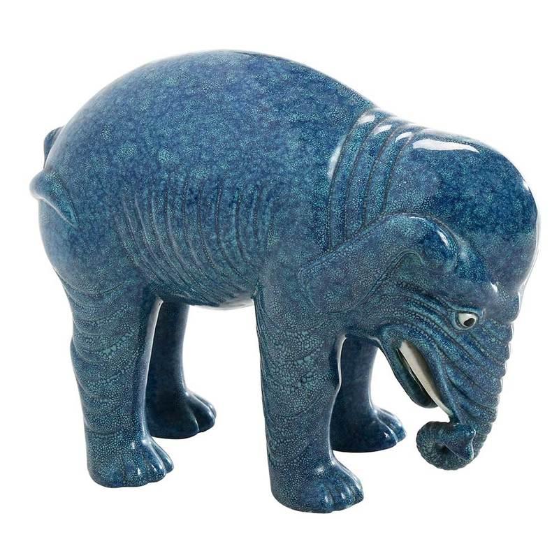 Blue Chinese Export Porcelain Elephant