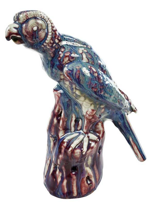 Chinese Flambe Glazed Porcelain Parrot