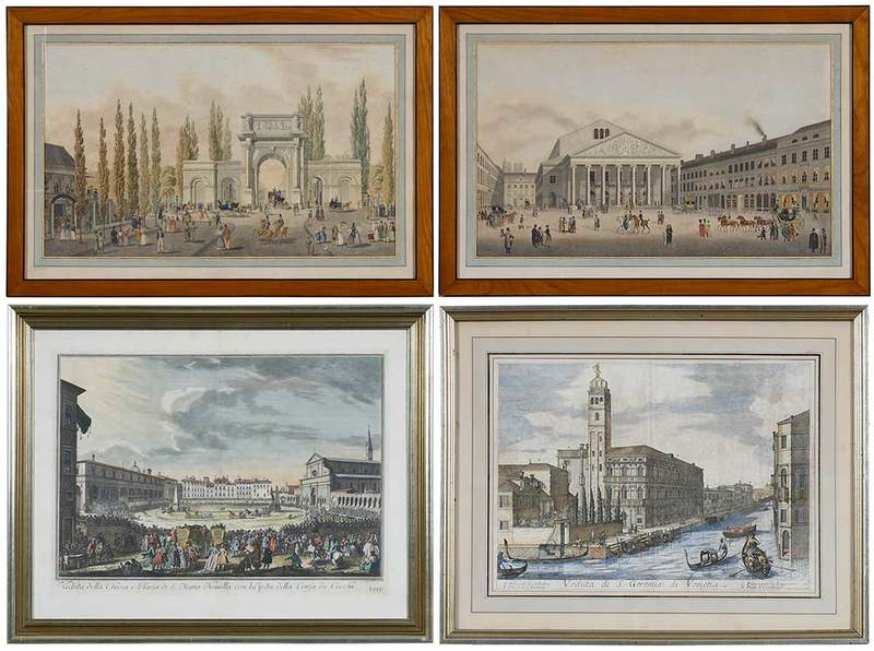Four Fine Continental Architectural Engravings
