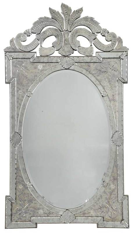 Venetian Etched and Mirror Framed Mirror