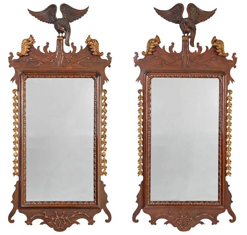Pair Chippendale Style Eagle Carved Mirrors