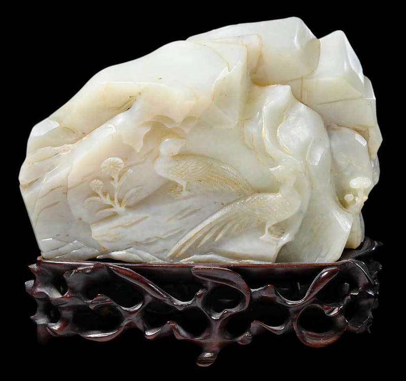 Carved Jade Boulder and Wood Stand