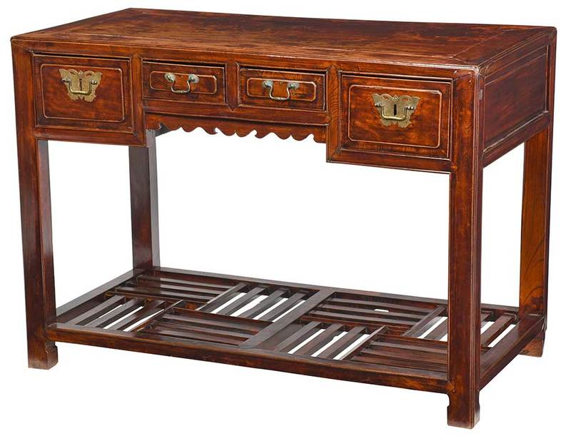 A Chinese Lacquer Decorated Four Drawer Desk