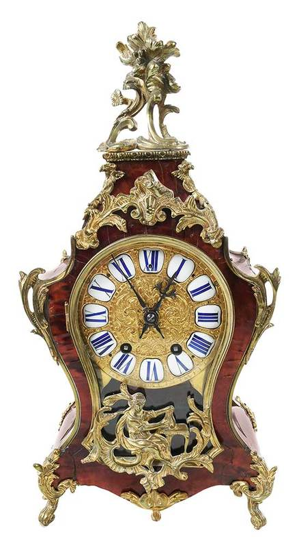 Louis XV Style Tortoiseshell Veneered Bracket Clock