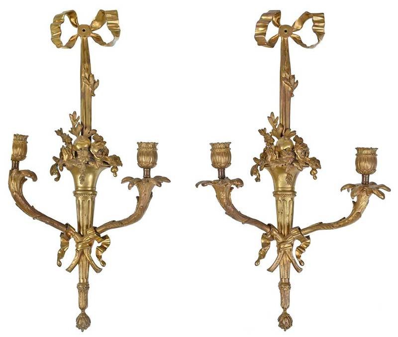 Pair Louis XVI Style Bronze Wall Sconces