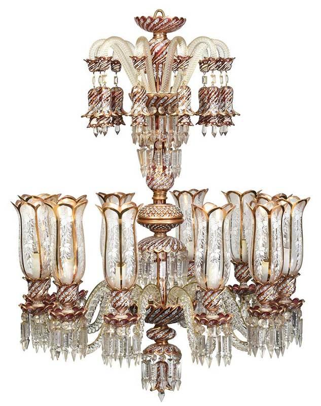 Enamel Decorated Glass Chandelier