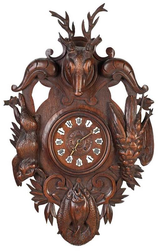 Black Forest Carved Hunt Motif Wall Clock