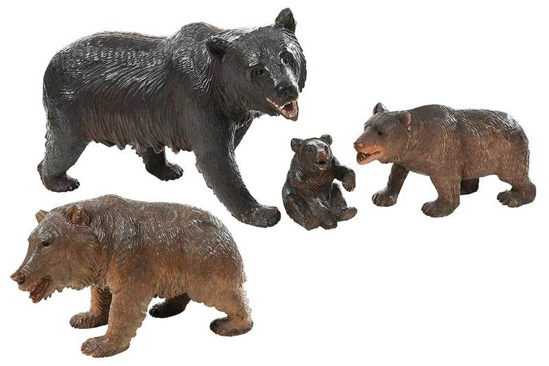 Four Black Forest Carved Bears