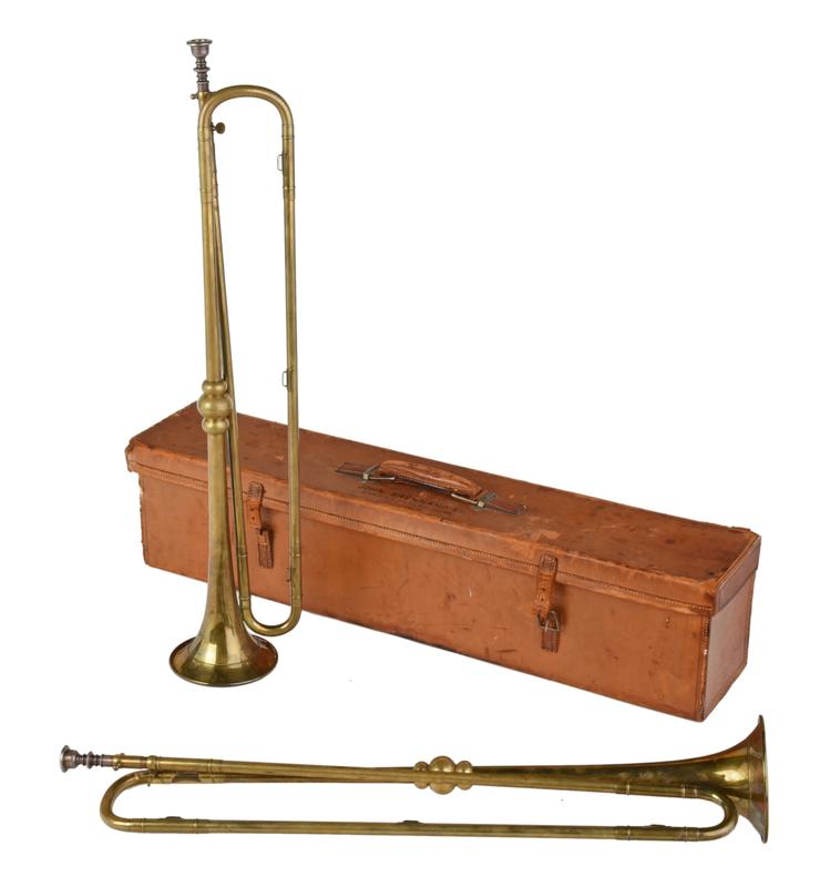 Two English Brass Presentation Horns