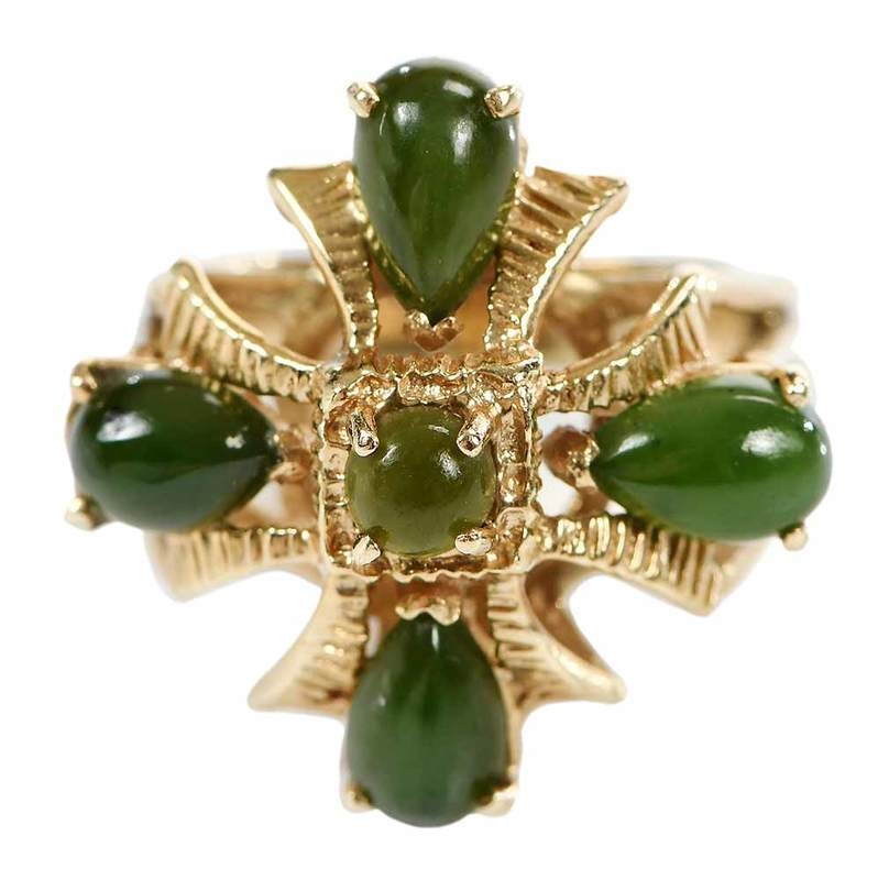 14kt. Green Hardstone Ring