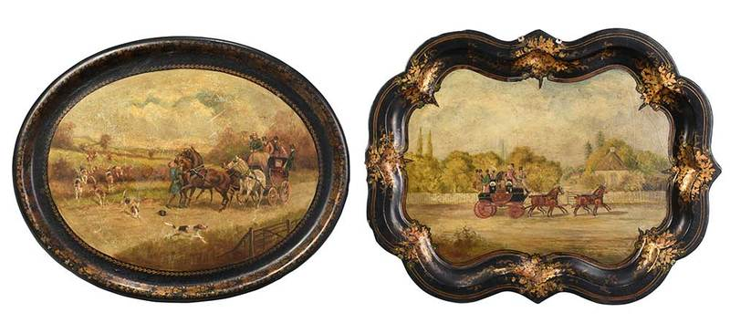 Two Paint Decorated Papier Mache Trays