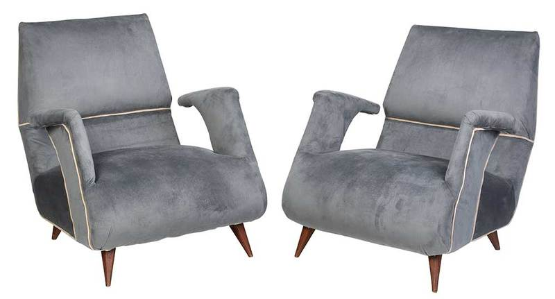Pair Gray Micro Suede Mid Century Armchairs