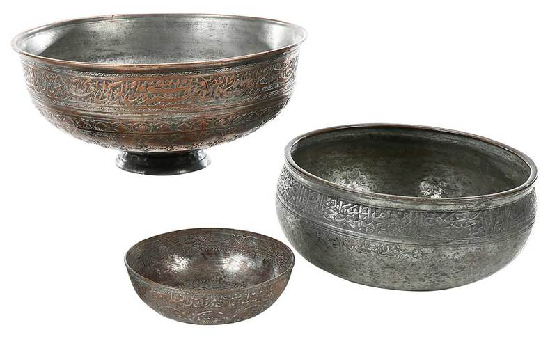 Three Early Islamic Engraved Tinned Copper Bowls