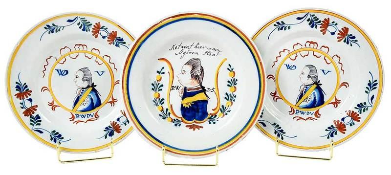 Three Delft Polychrome Portrait Plates