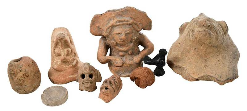 Group of 19 Earthenware Fragments and Figures