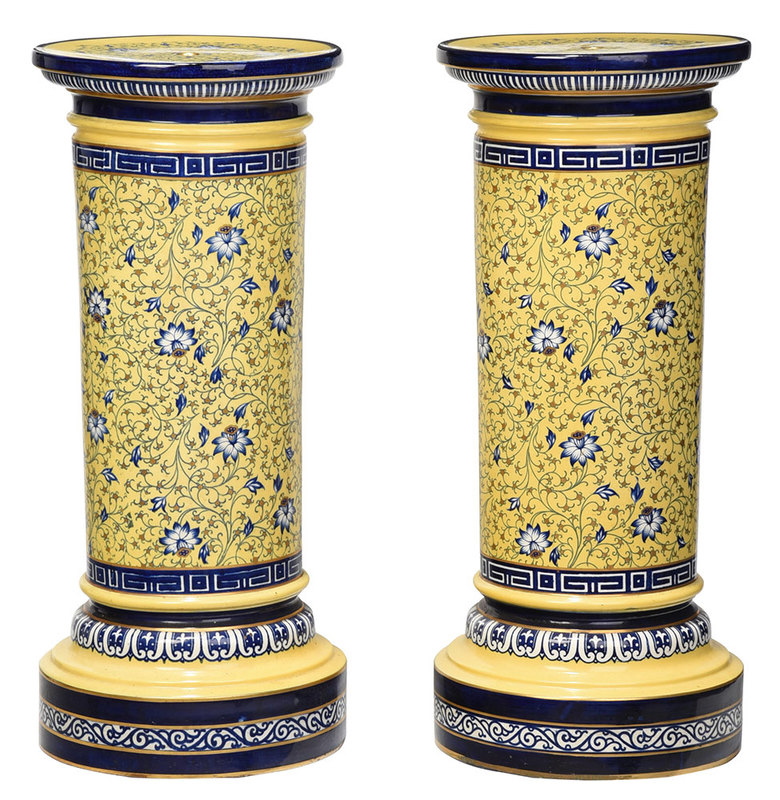 Pair Minton Cobalt and Yellow Garden Pedestals
