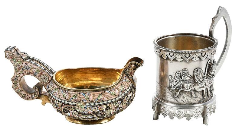 Russian Silver and Enamel Kovsh and Mug