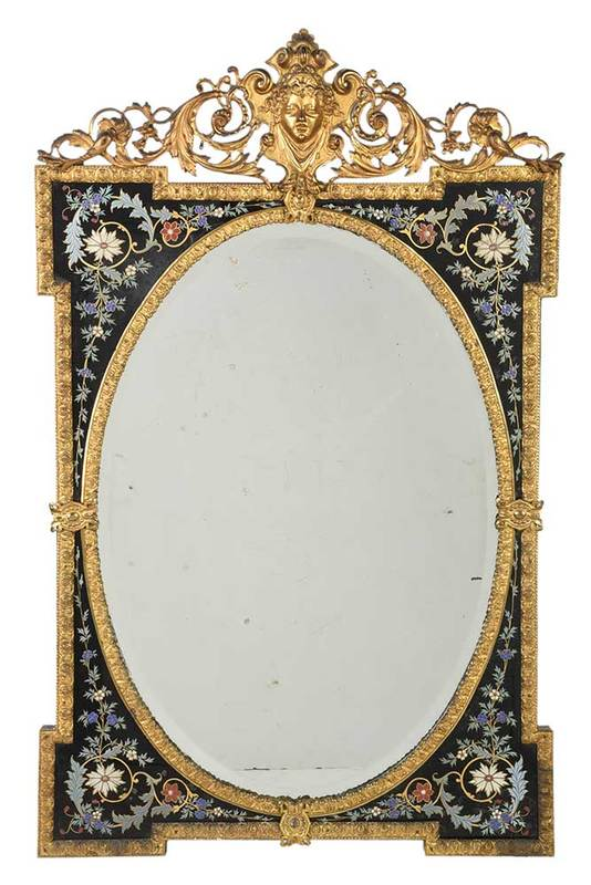 Fine French Enameled and Gilt Bronze Mirror
