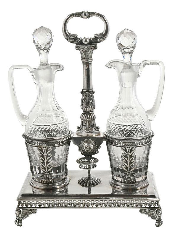 Empire French Silver Cruet Stand