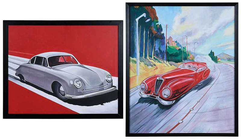 Two Contemporary Paintings of Vintage Cars