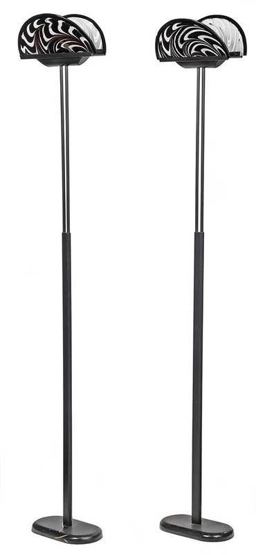 Pair Modern Floor Lamps, Signed Murano Shades