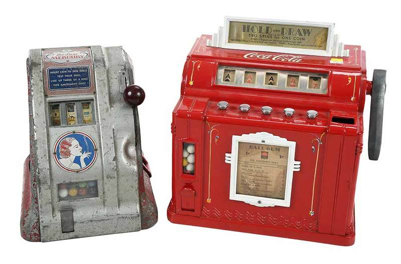 Two Vintage One Cent Slot Machines