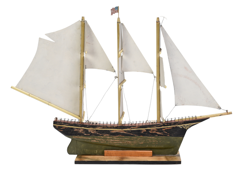 Large Paint Decorated Clipper Ship Model
