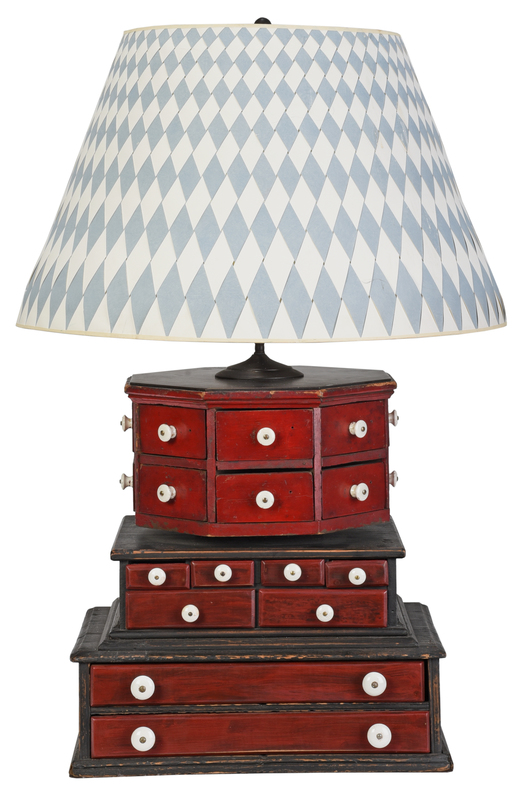 Vintage Red Painted Wood and Tole Lamp