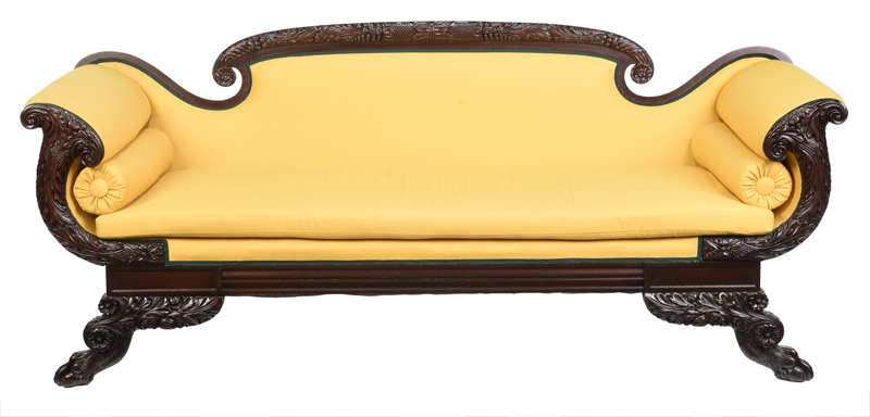 Classical Style Carved Mahogany Upholstered Sofa