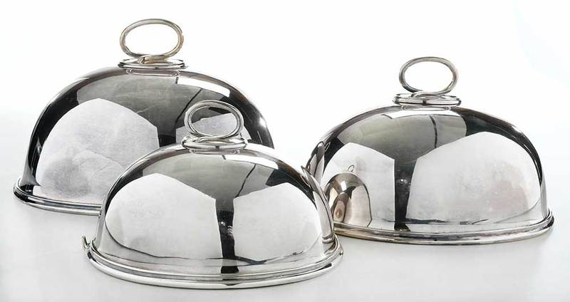 Graduated Set of Three Silver Plate Entree Covers