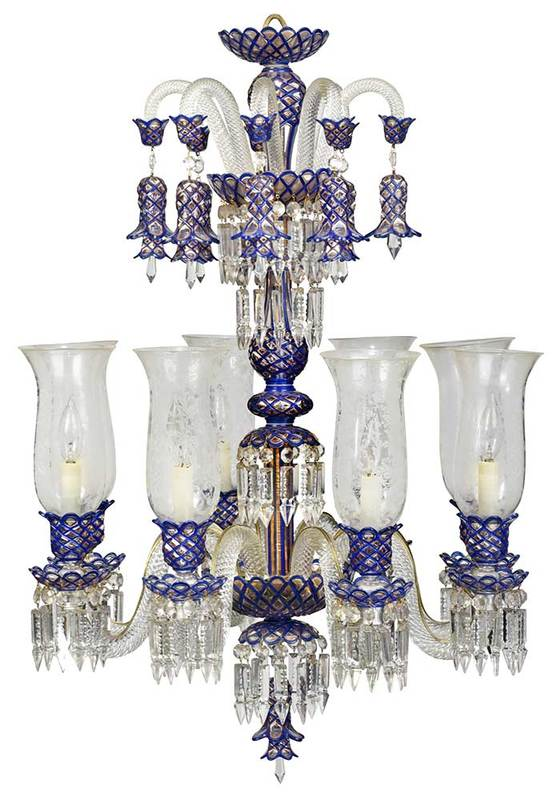 Enamel Decorated Eight Crystal Chandelier