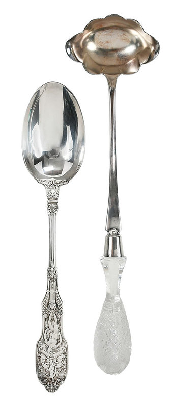 Silver ladle and spoon