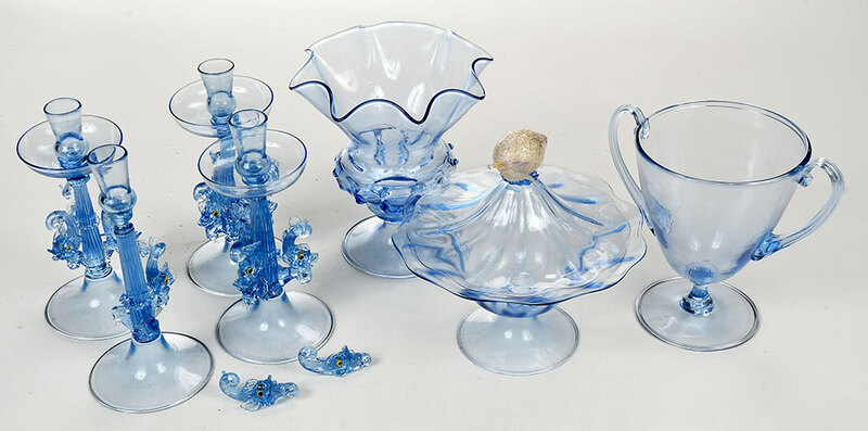 Seven Pale Blue Venetian Glass Table Items