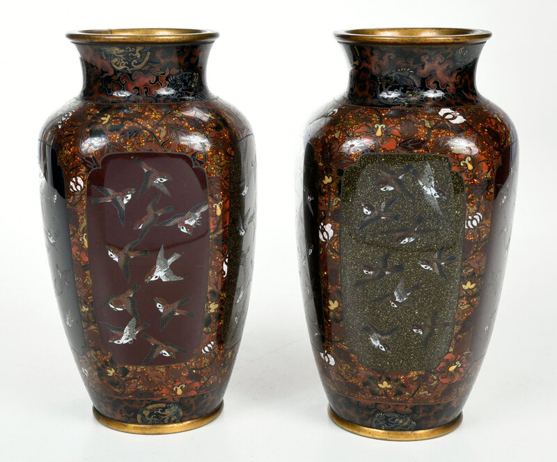 Pair of Japanese Cloisonne Vases with Gold Stone
