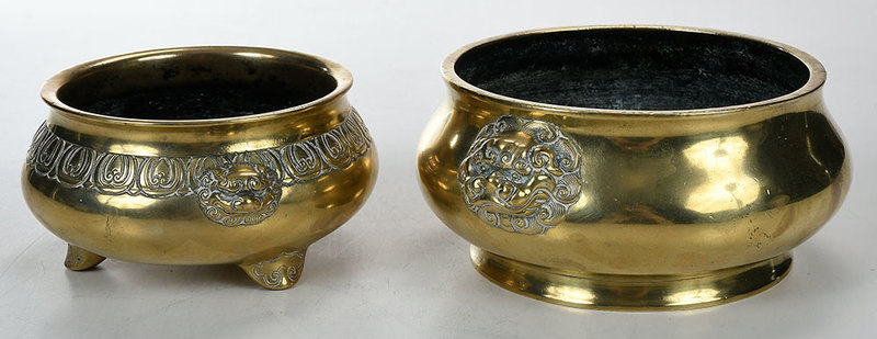 Two Finely Cast Chinese Bronze Censors