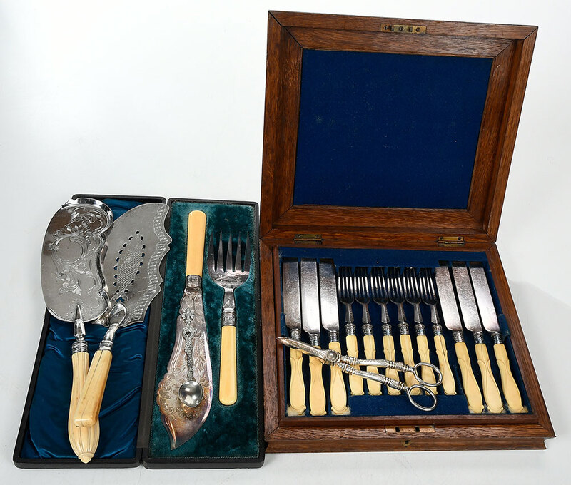 Cased Silver Fish Sets and Serving Pieces