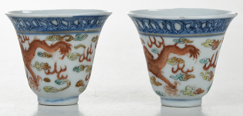 Pair of Chinese Iron Red Decorated Dragon Cups