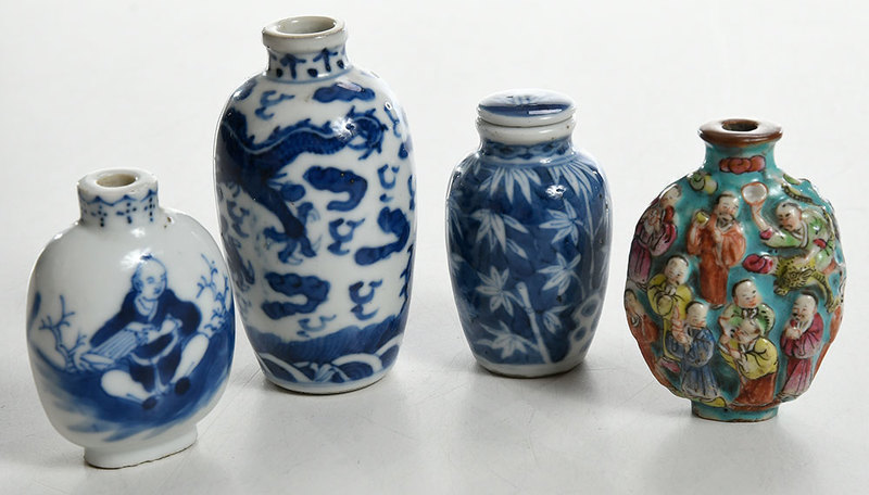 Four Blue and White and Famille Rose Bottles