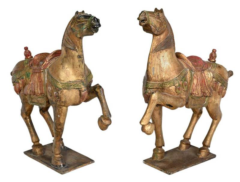 Pair Chinese Carved and Paint Decorated Horses