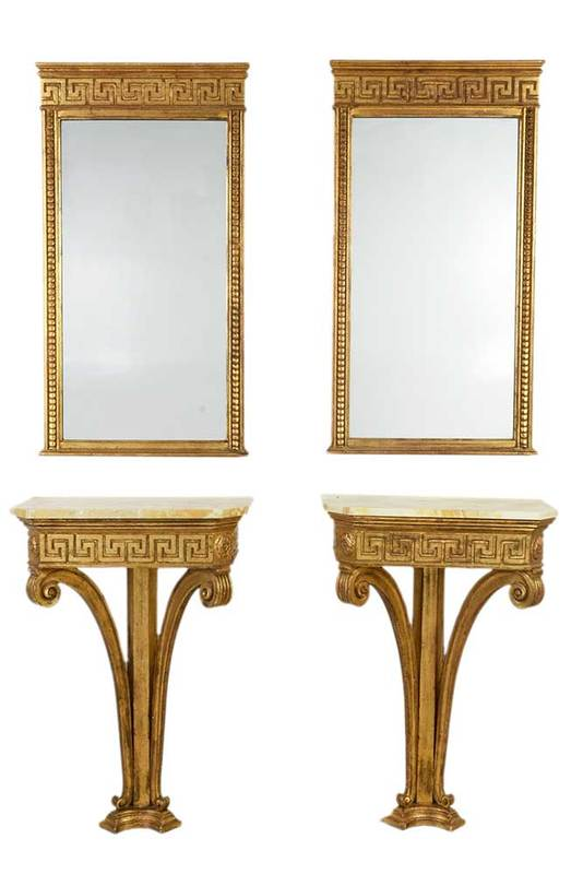 Pair Neoclassical Style Pier Tables and Mirrors