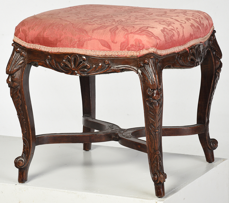 Provincial Louis XV Style Upholstered Foot Stool