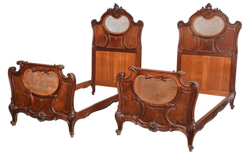 Fine Pair Provincial Louis XV Style Walnut Beds