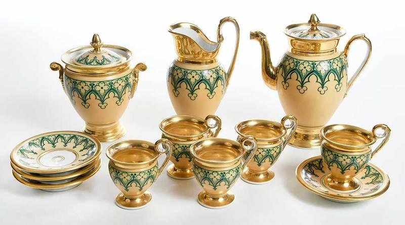 Gothic Revival Paris Porcelain Tea Set