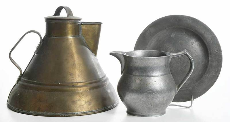 Lidded Brass Kettle with Two Pewter Articles