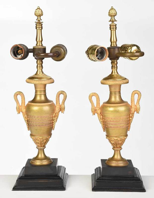 Pair Empire Style Gilt Bronze Lamps