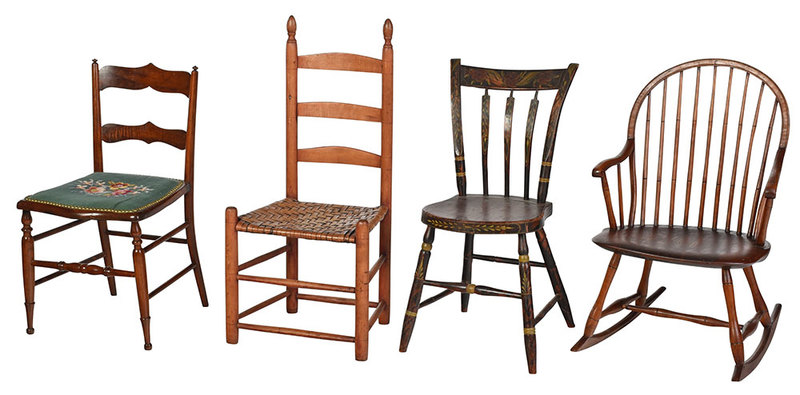 Group of Four Period Country Chairs