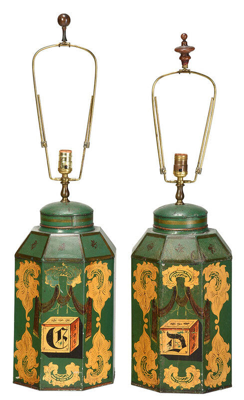 Pair British Green Tole Tea Canister Lamps
