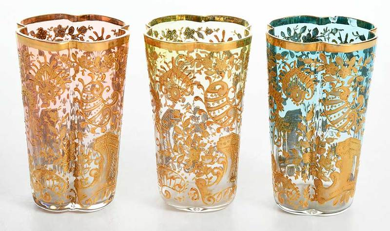 Set of 12 Moser Attributed Gilt Decorted Glasses