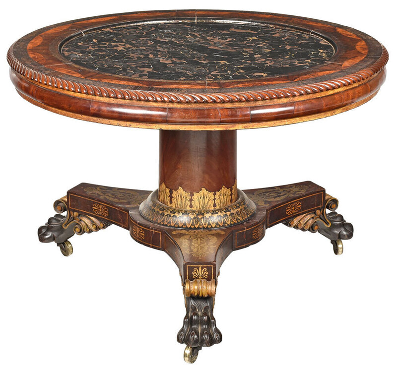 Fine Rare Philadelphia Marble Top Center Table